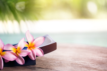 프랜지 열대 스파 꽃, 스파 및 웰빙 배경 스톡 콘텐츠
