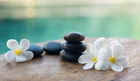 White frangipani with black stones, spa settings Stock Photo