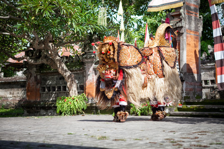 good and evil: Barong Dance show, Indonesian  mythology perform fight between good evil