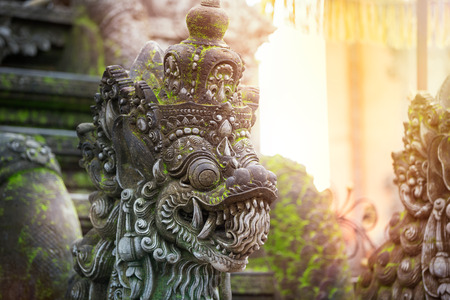 indonesia culture: Traditional Balinese stone sculpture art and culture at Bali,  Indonesia