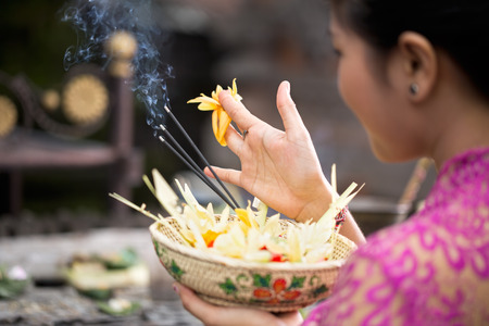traditional offering for gods with aroma sticks Фото со стока - 39138837