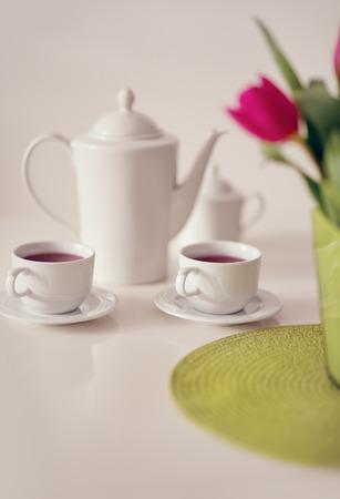 tea service: Beautiful white porcelain tea service on table