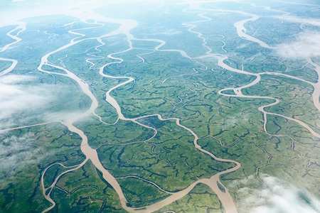 high view: Beautiful rivers, view from aircraft