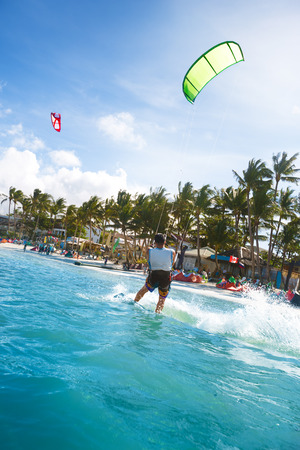 kitesurfing: Kitesurfing in ocean at Bali