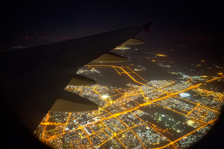View from the window of an airplane at night Stock Photo