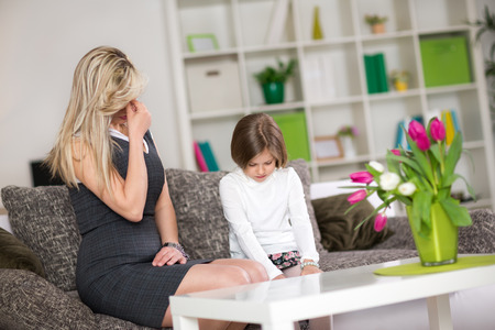 problematic: upset mom with  naughty child, Mother having disagreement with daughter