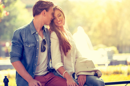 lovers park: Smiling young love in love outdoor Stock Photo