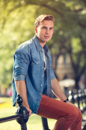young man portrait: Portrait of young attractive man, outdoors Stock Photo