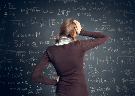 confused woman: worry student have a problem with mathematics Stock Photo