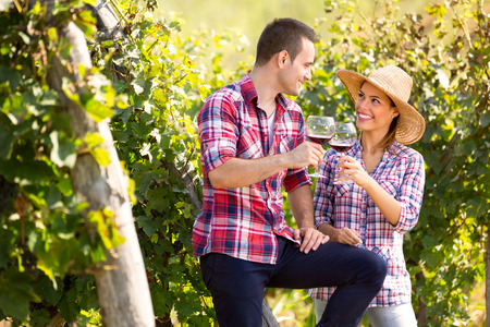 Woman and man in vineyard drinking wine, toasting and looking each other