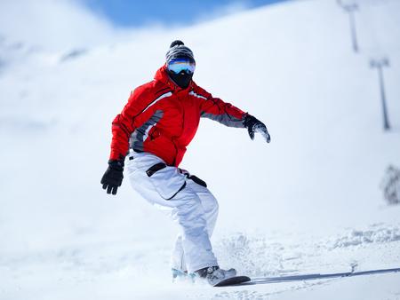 snowboarder: Snowboarder in action, winter sport