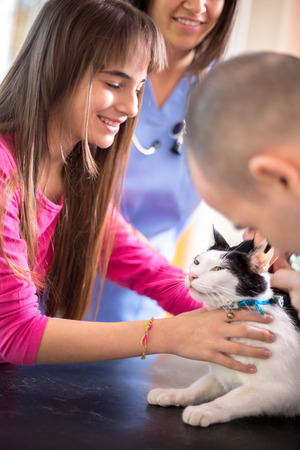 calm down: Lovely  girl calm down her sick cat in veterinary clinic Stock Photo