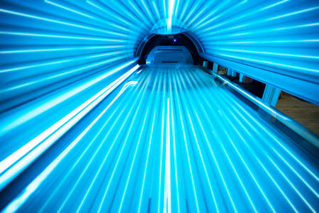 Solarium tanning bed, view from inside