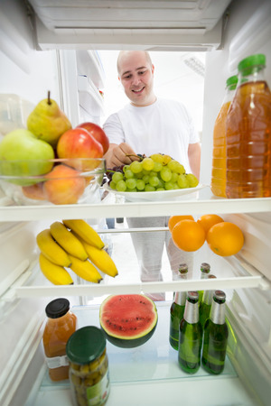 low calories: Healthy food and drink with low calories in fridge ideal for diet Stock Photo