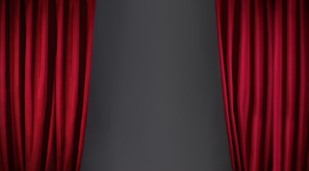 stage performance: red curtain or drapes on stage background Stock Photo