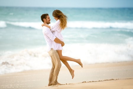 romantic couples: Couple in love on beach, romantic vacation