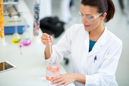 obrero trabajando: Trabajador de sexo femenino que trabaja en laboratorio con la pipeta Foto de archivo