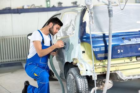 polishing on body car  in service Stock Photo