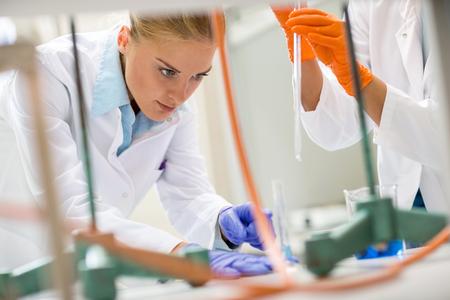 bata de laboratorio: Cierre de trabajo t�cnico de laboratorio joven en el laboratorio Foto de archivo