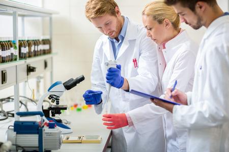 젊은 실험실 팀 노동자는 현미경으로 작동 스톡 콘텐츠