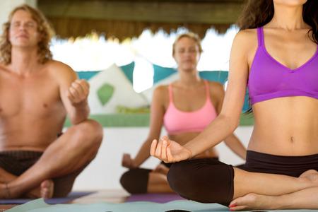 armonia: Cerca de la mujer meditando en una posición de yoga de loto Foto de archivo