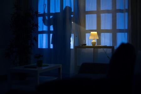 shadow  of burglar on the balcony door Standard-Bild