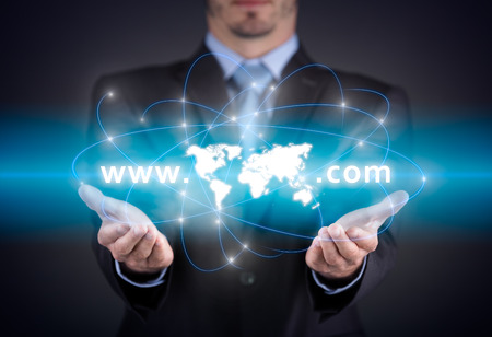 search searching: concept - global searching, businessman holding virtual search bar Stock Photo