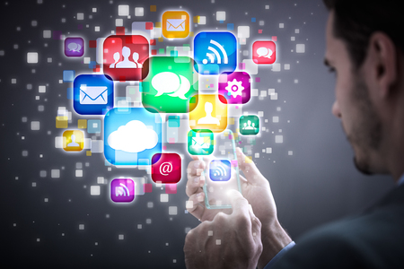 digital content: Media technology illustration with mobile phone and icons
