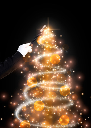 conjuror: Magic wand and glittering Christmas tree, Christmas background