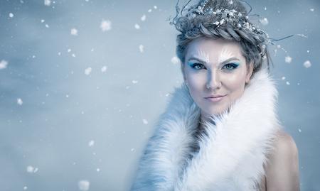 Beautiful ice queen frozen twigs Stock Photo - 48404089