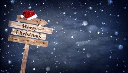 wooden hat: wooden board with Santa hat,  Christmas sign,  with copyspace