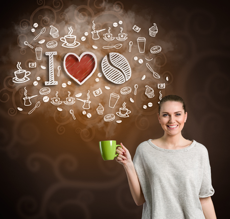 woman in love: Cheerful woman with cup and illustrated coffee icons, concept I love coffee