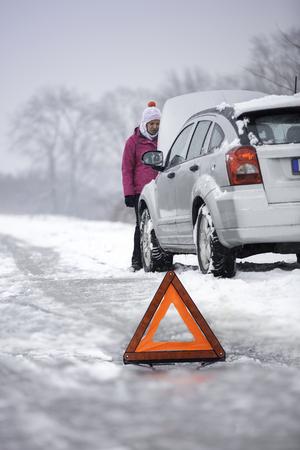 Auto difetto - ripartizione auto in una zona rurale nella stagione invernale