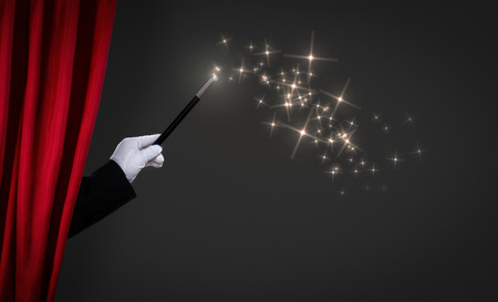 magic wand on stage, advertisement concept