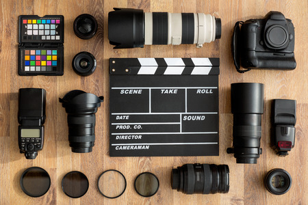 profesjonalnych kamer i obiektyw widok z góry Zdjęcie Seryjne