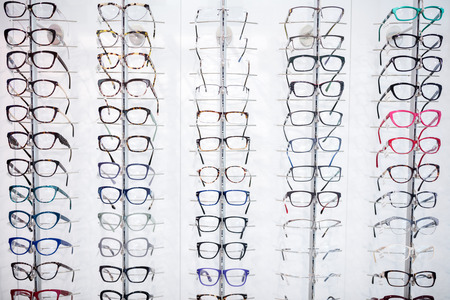 optical: In eyewear shop can be seen large selection of frames for eyeglasses