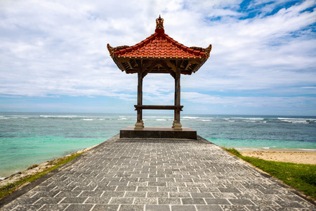 incheon: Canopies for praying on a beach in Bali Stock Photo