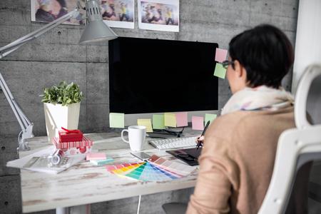 freelance: freelance designer working on computer