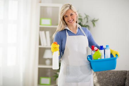 casalinga: Giovane casalinga con sostanze chimiche e spruzzatore