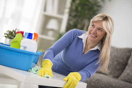 good looking: Good looking housewife cleans house