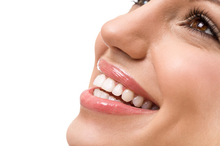 Great smile with straight white teeth, young woman with healthy teeth