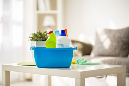 Cleaning products prepared for cleaning Stockfoto