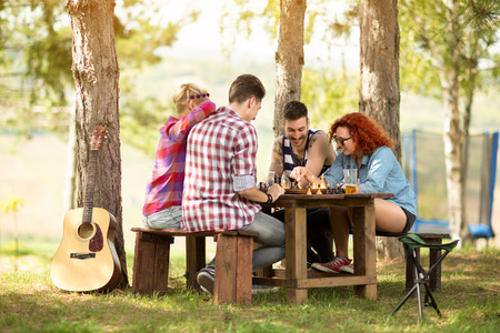 chess: Jóvenes que se divierten jugando al ajedrez en el bosque verde