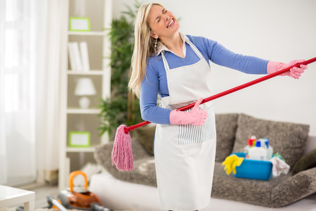 fresher: Amusing housewife make joke with jogger stick