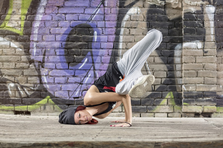 moves: Nice flexible girl perform street dance