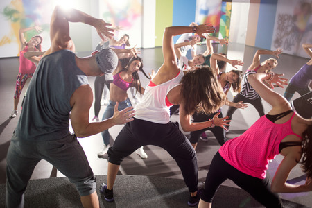 fitness training: group of dancers at fitness training in studio