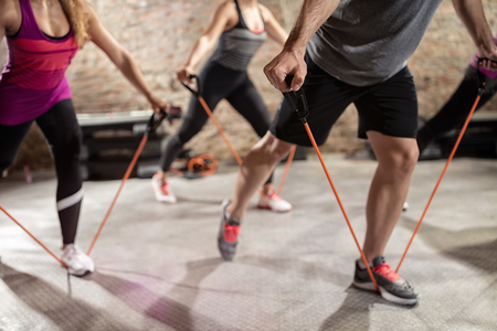 rubber band: Group training, fitness, sport, training and lifestyle concept