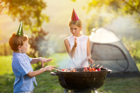 children having a barbecue party on camping