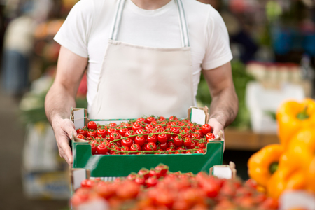street market: salesman holding organic cherry tomato at street market Stock Photo