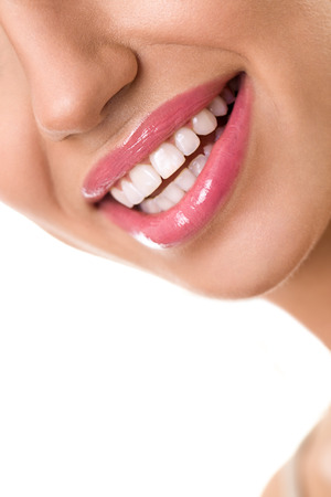 smile close up: Close up of beautiful white smile, dental care Stock Photo